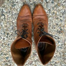 Vintage Leather 9 9.5 Victorian granny boots Italy Italian brown shoes Clarus
