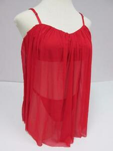 ALL WRAPPED UP WOMENS RED MESH TOP THONG LINGERIE BABYDOLL 2-PC SET XL 16/18 NWT
