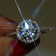 3.00 Ct Round Brilliant Cut Moissanite Halo Engagement Ring Solid 14K White Gold