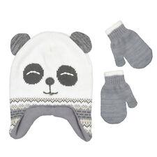 PEAK 2 PEAK Girls Boys Panda Winter Hat And Mitten Set Toddler Size