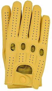 Riparo Men's Genuine Leather Full-Finger Driving Gloves - Camel