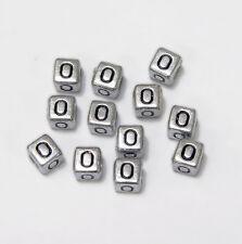 "6mm Silver Metallic Alphabet Beads Black Letter ""O"" 100pc"