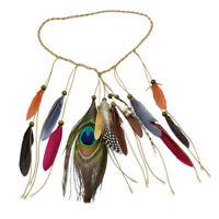 Peacock Faux Feather Boho Tassel Headband Indian Feathers Headpiece