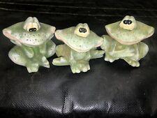 3 vintage Terra Cotta frog Figurines