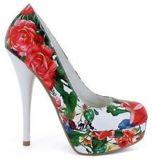 Size12 WHITE/FLORAL Platform Stiletto Pump Drag Queen Brash Bordello Pleaser