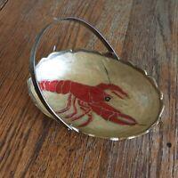 Vtg Brass trinket basket lobster crawfish painted enamel handle India red decor