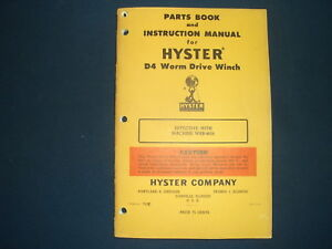 HYSTER D4 WORM DRIVE WINCH PARTS BOOK & INSTRUCTIONAL MANUAL CAT D4 TRACTOR