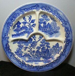 Vintage Blue Enamelware Divided Cafeteria Plates E11128 Set of 4