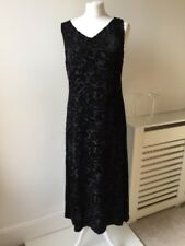 Laura Ashley Velvet Vintage 90s Floral Devore Midi Dress Sz 14 Silk Blend