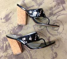 Jessica Simpson Frack Black Studded Cork High Heel Thong Sandals 8.5 38.5 39
