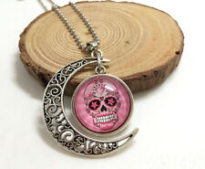 NEW Handmade pink sugar skull Hollow Moon Pendant Silver Necklace#05