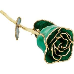 24K Gold Trimmed Lacquered Long Stem May Emerald Rose