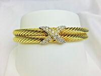 David Yurman 14k Two Tone Gold Diamond Double Cable X Bangle Bracelet (38945)