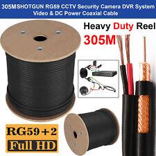 305M RG59 SHOTGUN Cable 2 Video Power Satellite Coaxial CCTV Security Camera UK
