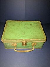 LunchBox 1940s Metal Green Color UNBRANDED w/Thermos Grungy Shabby Rustic Patina