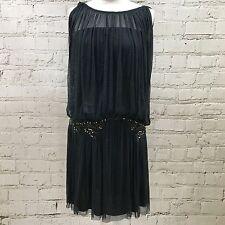 NEW MAJE Blue Silk Dress Drop Waist Embellished Party Flapper Size M UK 10 1395