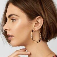 Acrylic Resin Leopard Print Blue COS Style Minimum Hoop Earrings