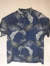Tommy Bahama Mens Size XL Navy Blue Floral Polyester/Spandex Shirt