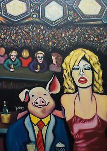 Pero Peter Roth satirisches Öl Portrait Gemälde Bardame und Schwein 100x140 cm