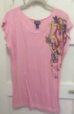 Pink T-shirt With Sequence Design By Uniti Size Large