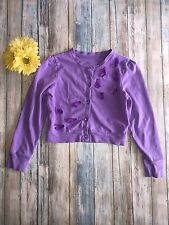 Girls The Children's Place Lavender Cardigan Butterfly Decoration Size 7/8