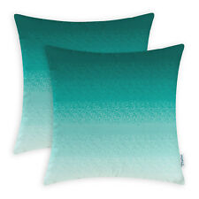 2Pcs Cushion Covers Pillow Cover Teal to Duck Egg Gradient Ombre Striped 45X45cm