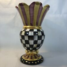 """Mackenzie Childs Frank & Mustard/Courtly Check Large Vase - 12"""" Tall"""