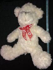 "White Plush Teddy Bear Valentine Bow 16"""