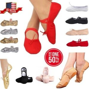 Girls Women Ballet Dance Yoga Gymnastics Canvas Slipper Shoe