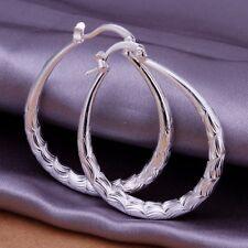 Damen Ohrringe oval Creolen 925 Sterling Silber plattiert Ohrschmuck Schmuck