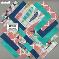 """25~5"""" Teal_Blue_Peach Feathers Fabric Squares/Quilt/Craft/Sew/CharmPack #5881"""