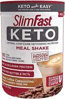 SlimFast Keto Meal Replacement Shake Powder- Creamy Coffee Cappuccino, 13.3Oz