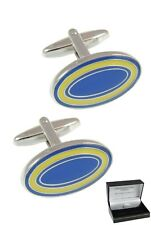 COLLAR AND CUFFS LONDON CUFFLINKS FOR MEN WITH GIFT BOX WEDDING BLUE YELLOW OVAL