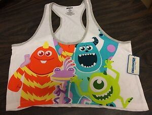 Monsters Inc Disney Pixar Racerback Crop Tank sz Large Sulley Mike Wazowski