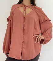 CITY CHIC Pink Long Sleeve Tie Neckline Button Ruffle Blouse Plus Size L AU 20