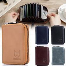 Leder Kartenetui RFID-Schutz Kreditkartenetui Mini Geldbörse mit Reißverschluss