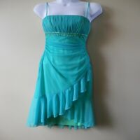 Vintage City Triangles Women's Ruffled Mint Green Cocktail Dress Size S