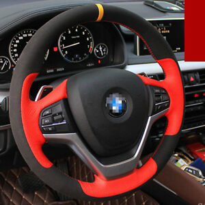 For BMW X6 2016 Hand-stitched Car Steering Wheel Cover Black Sude /Red Leather