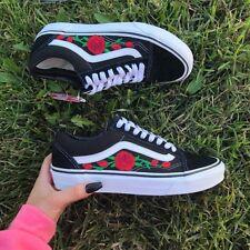 vans old skool noir avec des roses