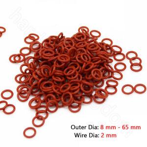 2 mm Silikon O-Ringe Food Grade Rubber Seal Washer Red O Ring OD 8 mm - 65 mm