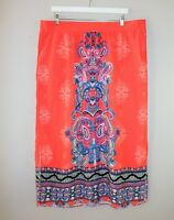 AUTOGRAPH Brand Red Paisley Printed Maxi Skirt Size 20 LIKE NEW #AN02