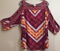 Fig & Flower Size 2X Multicolor Open Peek a Boo 3/4 Sleeves Top Tunic