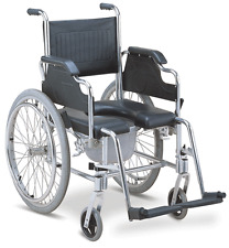 Aluminum Commode Wheelchair and Shower Wheelchair 2-in-1 Bathroom Chair on Wheel
