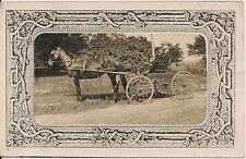Two Men In Horse-Drawn Wagon RP Postcard Fancy Border