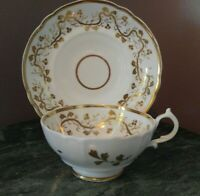 China Tea Cup and Saucer Ivory with Gold Vines & Leaves Unknown Maker GVC