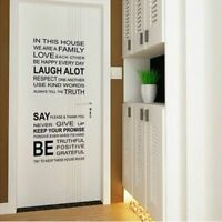 Family House Rules Wall Sticker Decals  Removable Art Vinyl Decor Home Kids -AU
