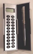 (New) Simple pocket CALCULATOR with pen and pen case. Battery included