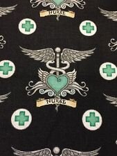 What the Dr Ordered 100% cotton fabric yard Medical NURSE fabric BLACK and AQUA