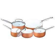 8PC COPPER EFFECT ALUMINIUM NON STICK COOKWARE SET FRYING PAN SAUCEPAN GLASS LID