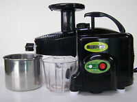 LIGHTLY USED GreenPower KPE1304 TWIN GEAR Masticating Juicer ~ BLACK + Multi Kit